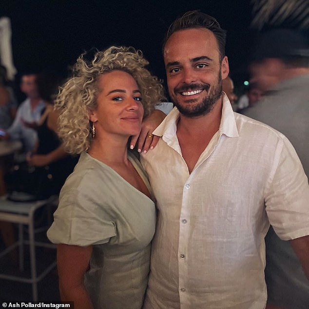 New parents: Ash, who is known for her appearances on My Kitchen Rules and I'm a Celebrity... Get Me Out of Here!, shares her daughter with partner Pete Ferne (right)