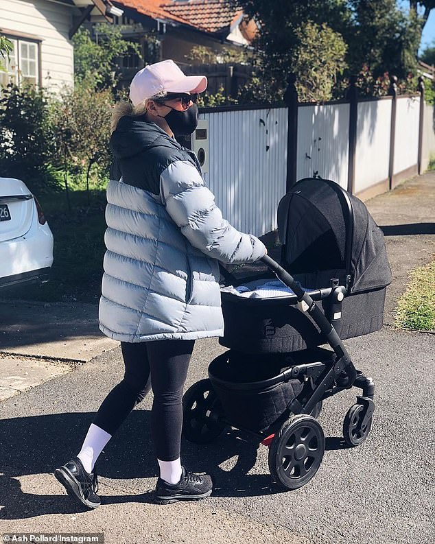 Baby's first stroll! On Monday, radio presenter Ash Pollard took a walk with her baby daughter, whose name she is yet to reveal, near her home on the NSW Central Coast
