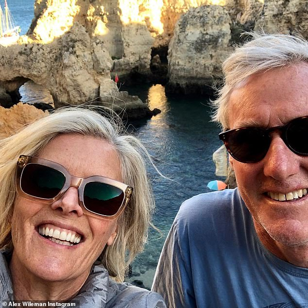 Winning the lottery! The 59-year-old has now revealed she's more content than ever with her new life as a traveller, saying : 'I thought it would be awesome to be able to show people around like a local - and it's what I get to do every day'. Pictured with husband Jamie