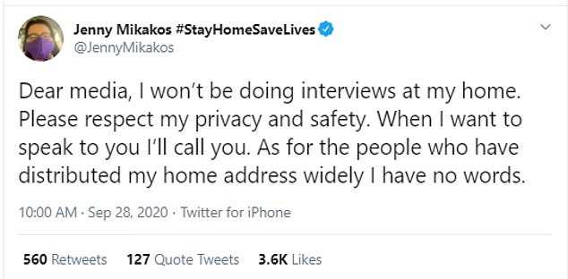 Jenny Mikakos took to Twitter on Monday morning to ask for her privacy to be respected