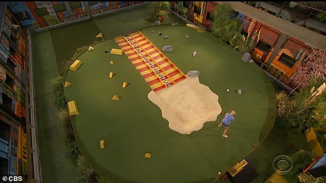 Golf game;The Head of Household competition was based on a miniature golf game with houseguest given the option of going for power or a $10,000 prize