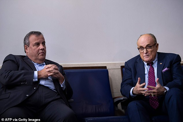 Former New Jersey Governor Chris Christie, left, and former New York City Mayor Rudy Giuliani, right, are helping President Trump prepare for the presidential upcoming debates