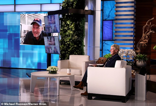 Ellen told Shelton, 'Thanks for reaching out to me this summer, you and Gwen reached out to me when things were going a little bit crazy and I appreciate it very much, so thank you'