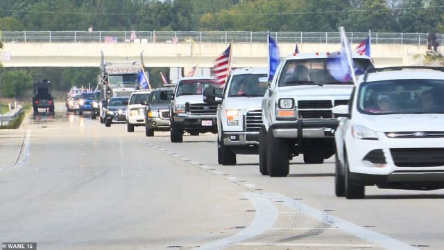 Miles of cars and motorcycles traveled along I-469 to show their support for President Donald Trump Sunday afternoon in Fort Wayne