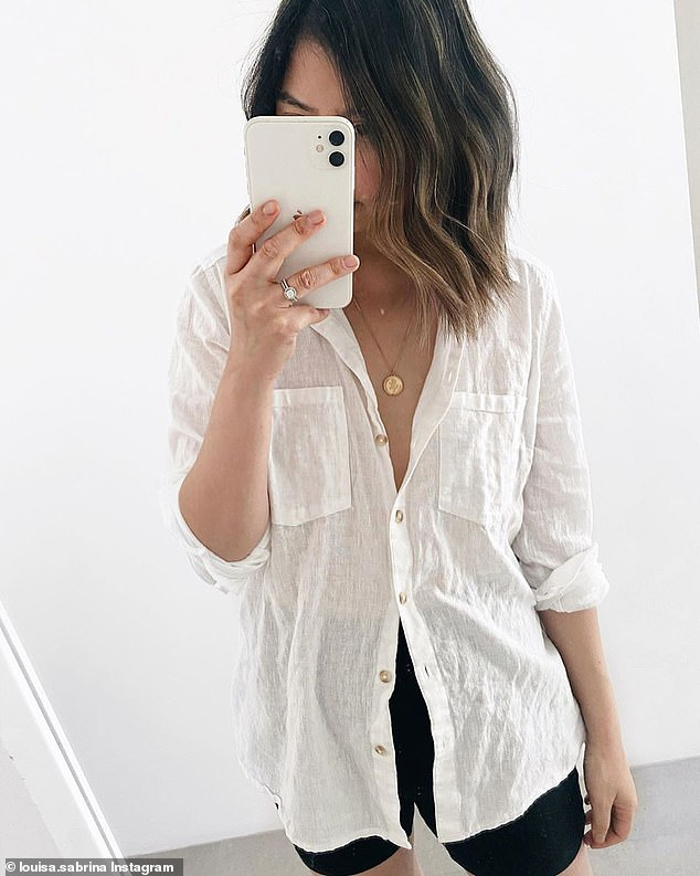 Perth influencer Louisa Sabrina told followers the long-sleeved linen shirt (pictured) is perfect with black bike shorts on warm summer days