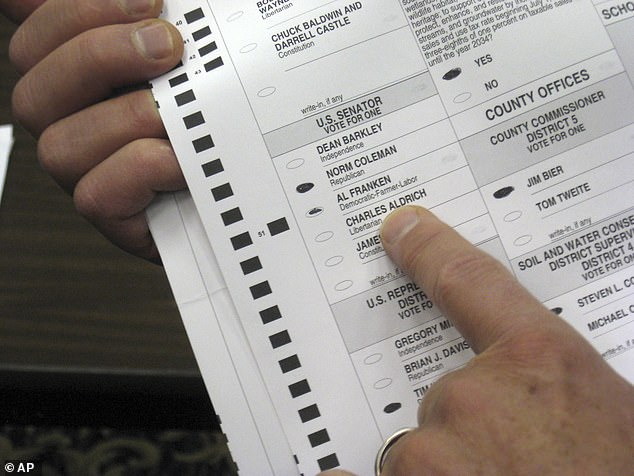 'Ballot harvesting' is also known as 'ballot collection,' which is a legal practice in many states that allows third parties to collect ballots on behalf of impaired or disabled voters who are unable to physically get to polling places. In Minnesota, the law allows a third party to collect no more than three ballots. The above file photo is a 2008 election ballot in Minnesota