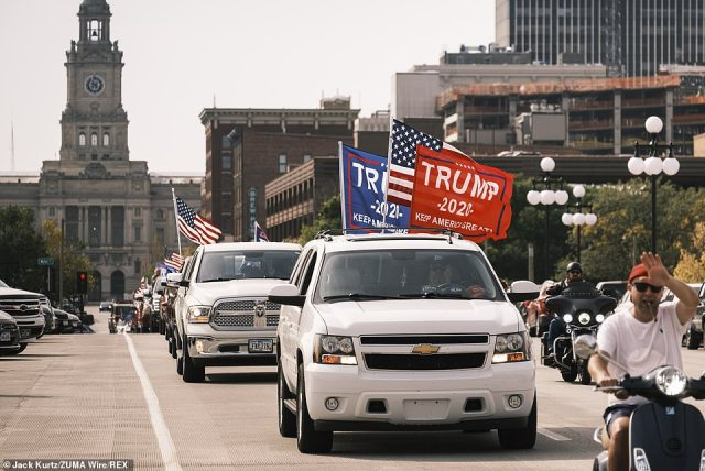 More than 1,500 people participated in a pro-Trump motorcade that drove through the city of Des Moines on Saturday