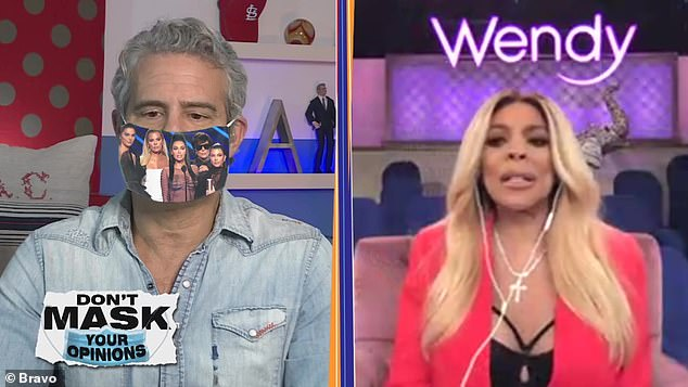 Magic mask:Andy while wearing a green screen face mask with superimposed images asked Wendy for her opinion on recent pop culture moments