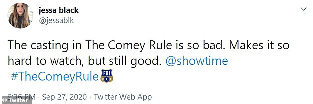 Social media users were unimpressed with The Comey Rule