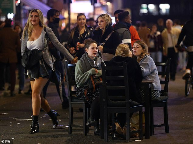 The images are a stark contrast to the night before, when pictures showed hoards of revellers flocking to the streets in their droves on Saturday night after bars and pubs kicked them out at 10pm