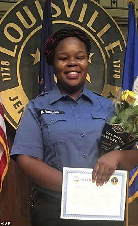Breonna Taylor, 26, pictured, was shot multiple times March 13 after her boyfriend, Kenneth Walker, fired at officers who had entered her home during a narcotics raid, authorities said. Sgt Jonathan Mattingly, Detective Myles Cosgrove and Officer Brett Hankison burst down the door to Taylor's home during a 'no knock' search warrant
