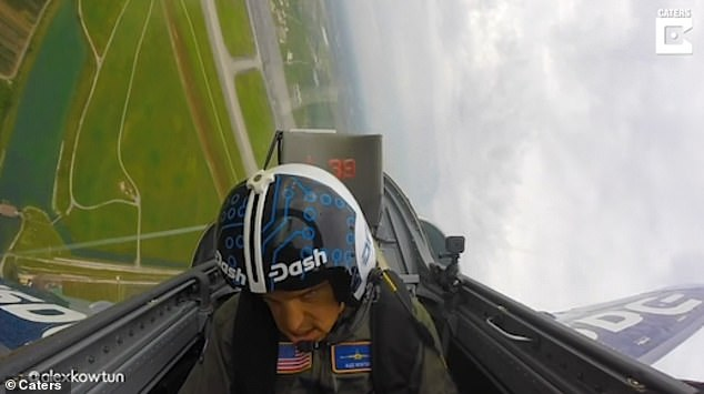 A terrifying video shows the hobbyist airplane pilot momentarily black out due to high g-force before regaining consciousness and shouting 'oh s**t'