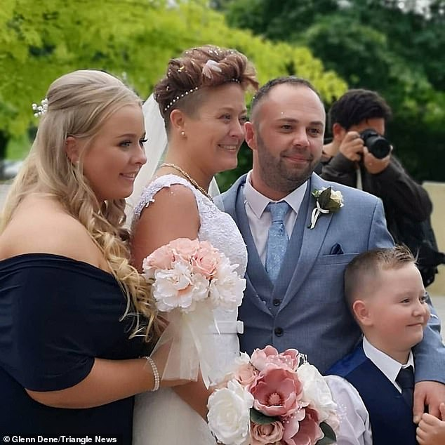 Hayley Hale (pictured with her husband and two children) had put off marrying fiance Matthew for almost a decade because she was so embarrassed about her severe daily fits - and she even pretended that marriage 'wasn't a big deal' despite wanting nothing more than to be his wife