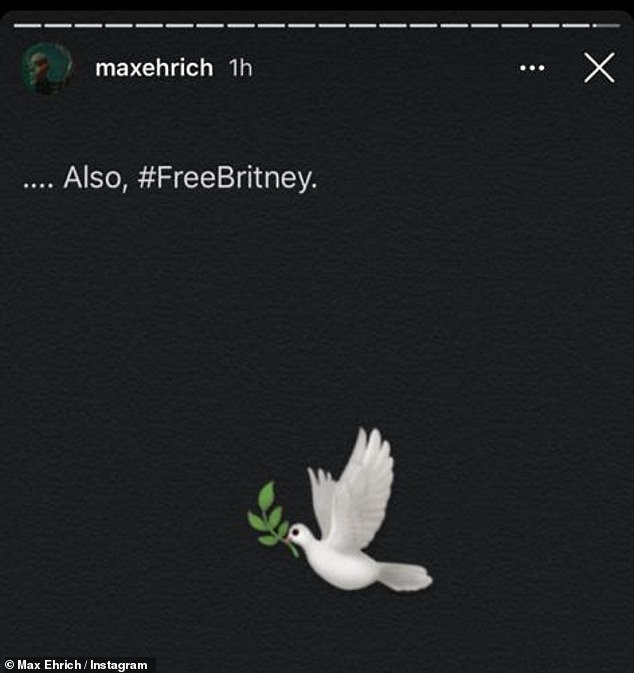 Message: He added a Story post in which he backed the Free Britney Spears campaign