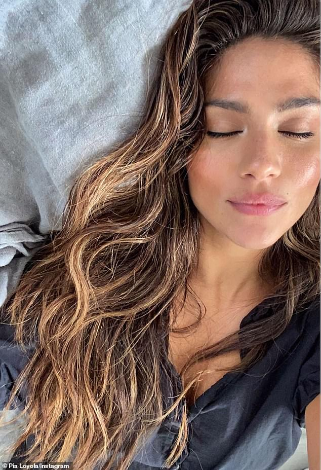 Glowing: Pia Miller, 36, (pictured) looked radiant in a glam selfie on Monday, weeks after reuniting with her multi-millionaire Hollywood agent boyfriend Patrick Whitesell