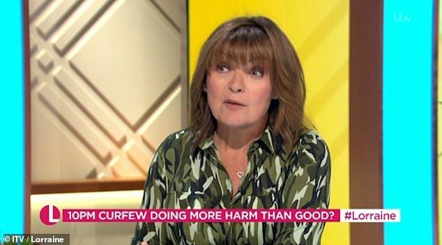 Livid:Lorraine Kelly has not held back from slamming the anti-lockdown protests that took place in London over the weekend