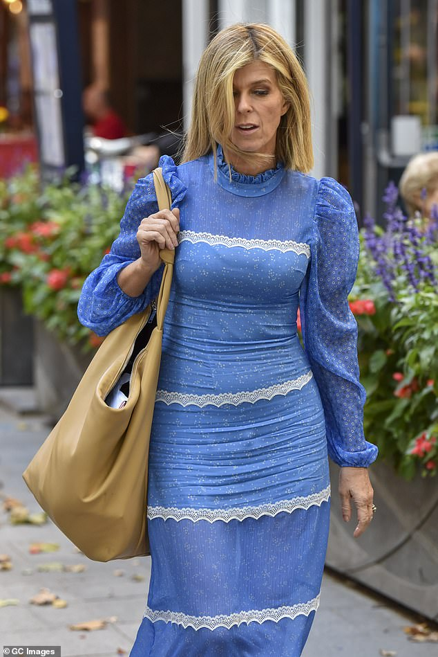 'Hell!' She went on to reference her ITV colleague Kate Garraway, whose husband Derek Draper was struck down with coronavirus months ago and has been in and out of a coma in ICU ever since [pictured earlier this month]