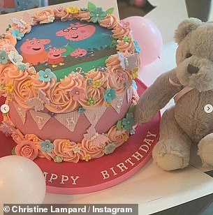 Cute: They marked the occasion with a sweet Peppa Pig-themed party
