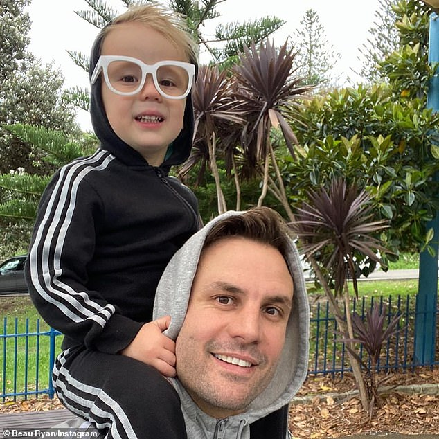 Daddy's boy: Beau also shared a series of affectionate photos of himself with his son, showing off their close bond