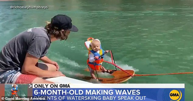 Parents who taught their six-month-old baby Rich (pictured) to waterski have continued to defend themselves on This Morning today