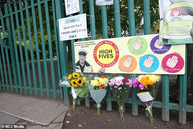 Floral tributes have been left outside Gosforth Park First School in Newcastle after the death