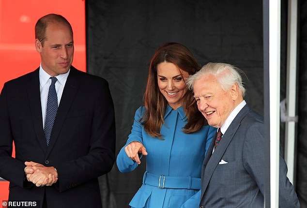The Duke and Duchess of Cambridge also met the conservationist in September 2019 in Birkenhead (above), for the christening ceremony for the polar research vessel RRS Sir David Attenborough, the meeting appearing in the upcoming documentary from ITV, Prince William: A Planet For All of Us