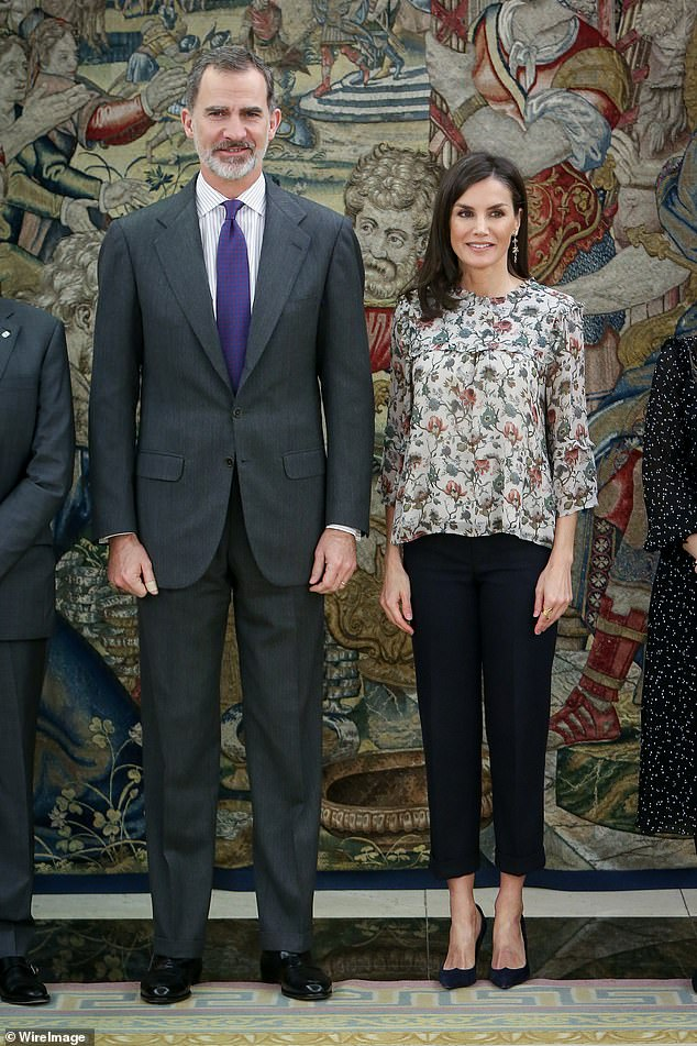 Corinna claimed to have met the then heir to the Spanish throne and his wife in 2007 at a charity event (pictured: Felipe VI and Letizia at Zarzuela Palace in February 2020)
