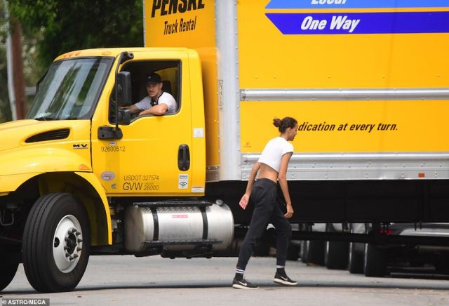 Ryan drove the large rental truck to the new house, which has a pool and costs nearly $5,000-a-month to rent.It seems whenever the pair have been spotted as of late, they are always together