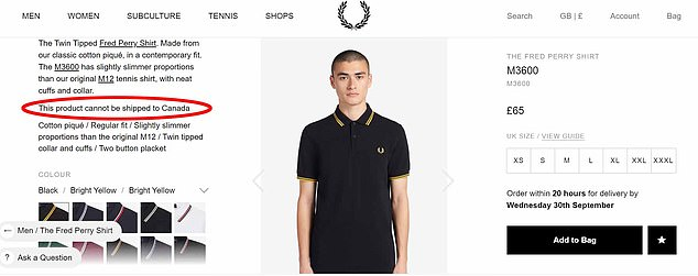 The famous fashion label won't be shipping its black and yellow PB tops to Canada and North America for long. Pictured: The official website has already changed to reflect the announcement