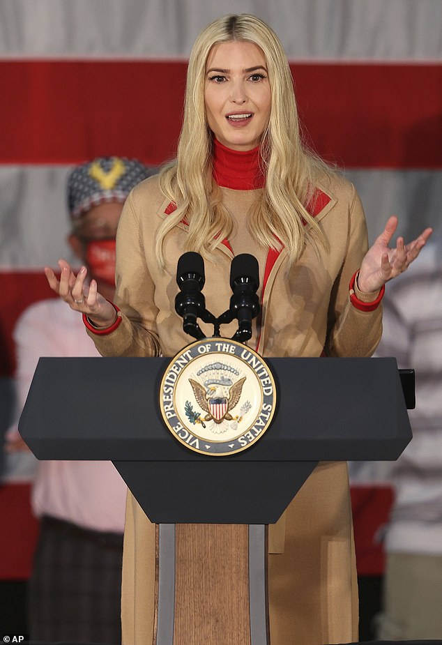 Campaign trail: Ivanka spent the day before National Daughter's Day stumping for her father in Wisconsin (pictured) and Minnesota with Vice President Mike Pence