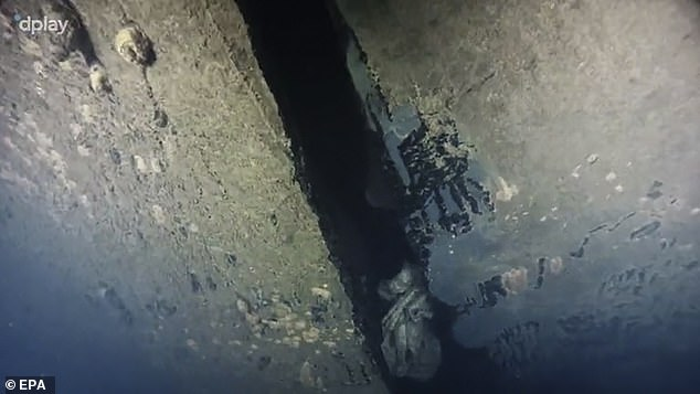 According to information presented in the documentary, the hole is four metres high and has previously been partly hidden towards the sea bed