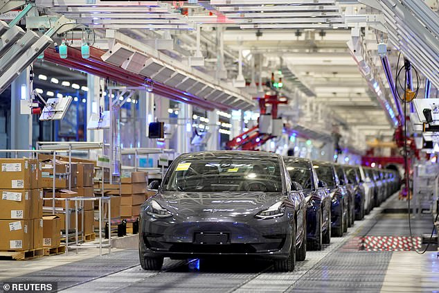 A view of Tesla China-made Model 3 vehicles above in January 2020