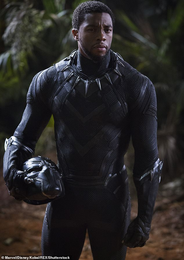 Icon:The family revealed several of Chadwick's recent films, including Marshall, Da 5 Bloods, and August Wilson's Ma Rainey's Black Bottom, were filmed 'during and between countless surgeries and chemotherapy (pictured 2018 in Black Panther)