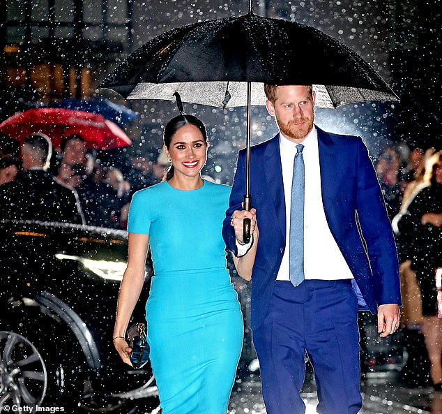 Harry and Meghan (pictured) could create a Netflix documentary with sensational home footage recorded as they left the royal family, it was claimed last night.