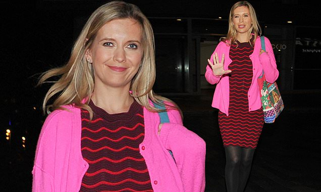 Rachel Riley looks chic in printed dress and a neon pink cardigan thumbnail