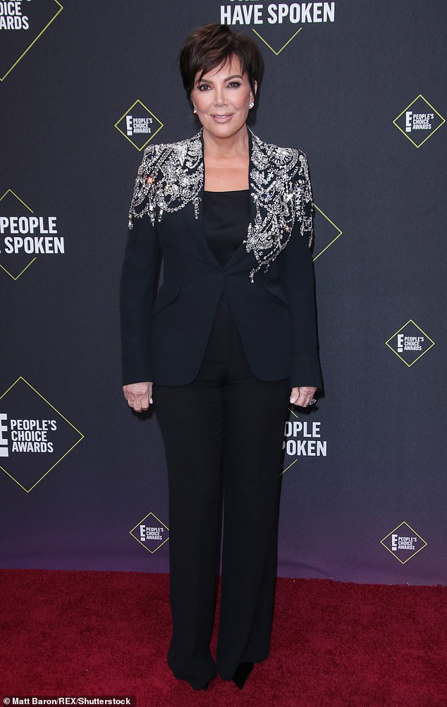 Strike a pose: Kris looked stylish at the People's Choice Awards in 2019