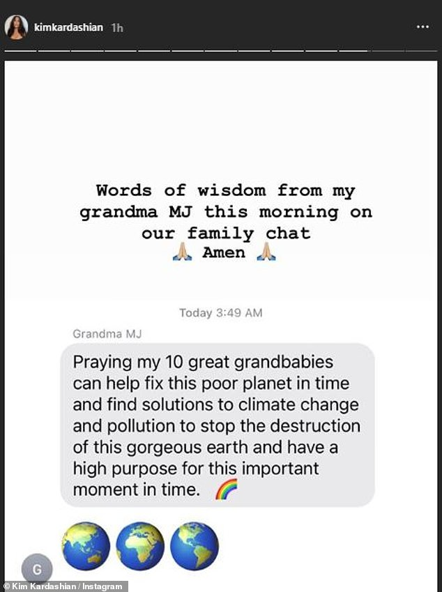 Words of wisdom: In another early morning post on Monday, Kim revealed a text message she received from grandmother Mary Jo 'MJ' to the family chat