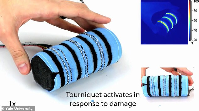 The wearable robotic tourniquet developed at Yale with robotic fibre could wrap around someone's arm emergency situations