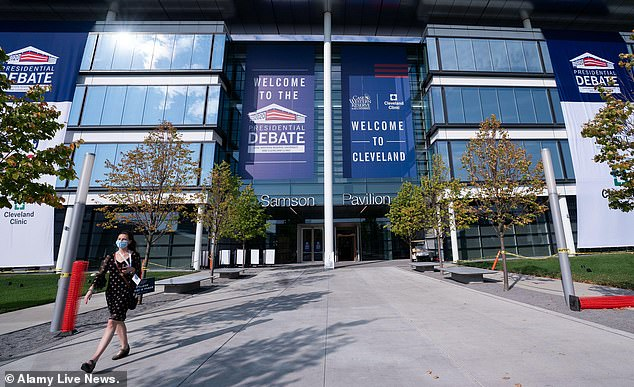 Preparations take place for the first Presidential debate outside the Sheila and Eric Samson Pavilion