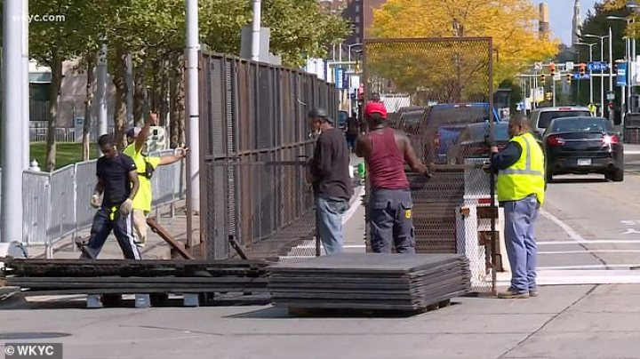 Security fences have been installed around the debate site