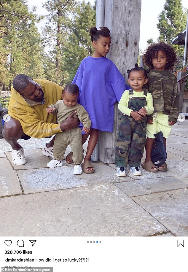 Close:Kim and Kanye are parents to four kids: daughters North, seven, and Chicago, two, and sons Saint, four, and Psalm, one year