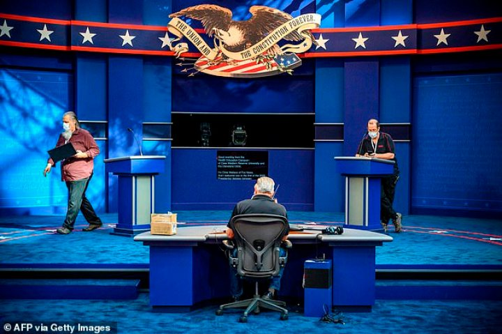 Final preparations are done for the debate stage ahead of Tuesday night's first of three presidential debates