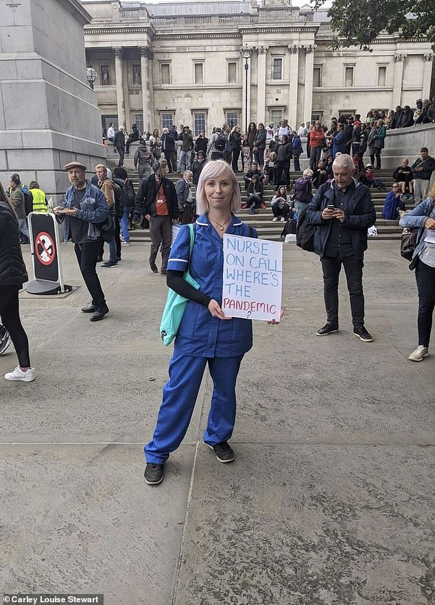 Carley Louise Stewart, 31, of Preston, was among the 10,000 Covid-19 conspiracy theorists who took to the streets of London in August to demonstrate against lockdown restrictions and vaccination programmes