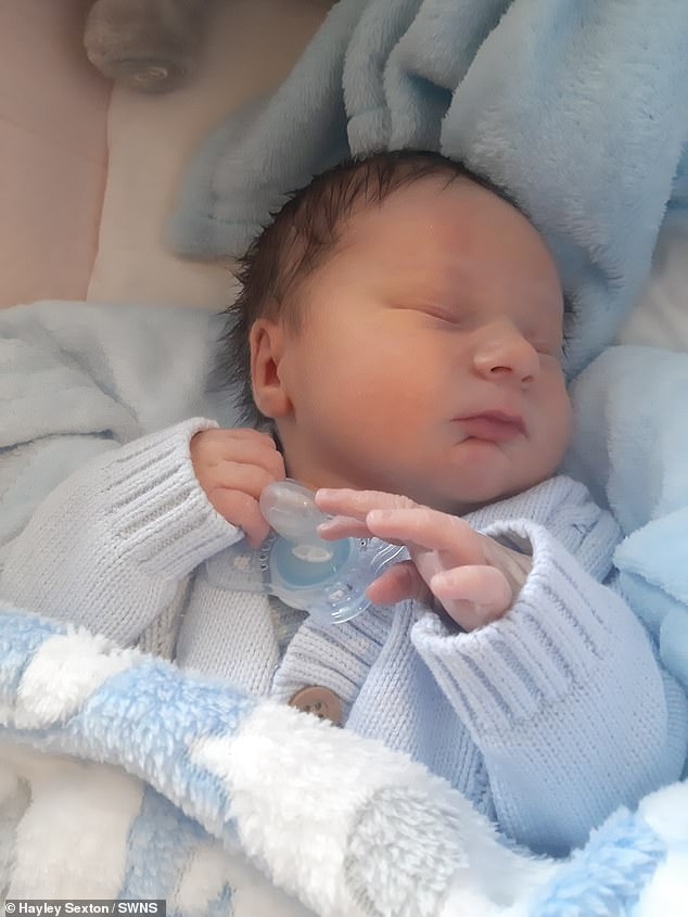 But the single mother, from Stockton-on-Tees, County Durham, was left completely speechless when she was told her newborn was in fact a boy (pictured) seconds after she gave birth