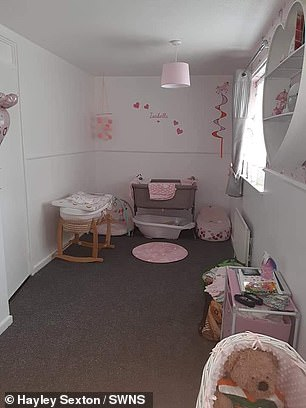 Little Alfie Sexton arrived at 16:39pm, weighing a healthy 6lbs 6oz after a 33 hour labour at University Hospital of North Tees, on September 20 - and Hayley has since re-decorated the nursery (pictured)