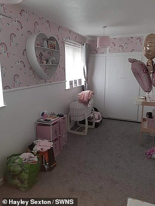 Hayley has also taken back all the pink clothing she purchased. Pictured, the nursery before Alfie's birth