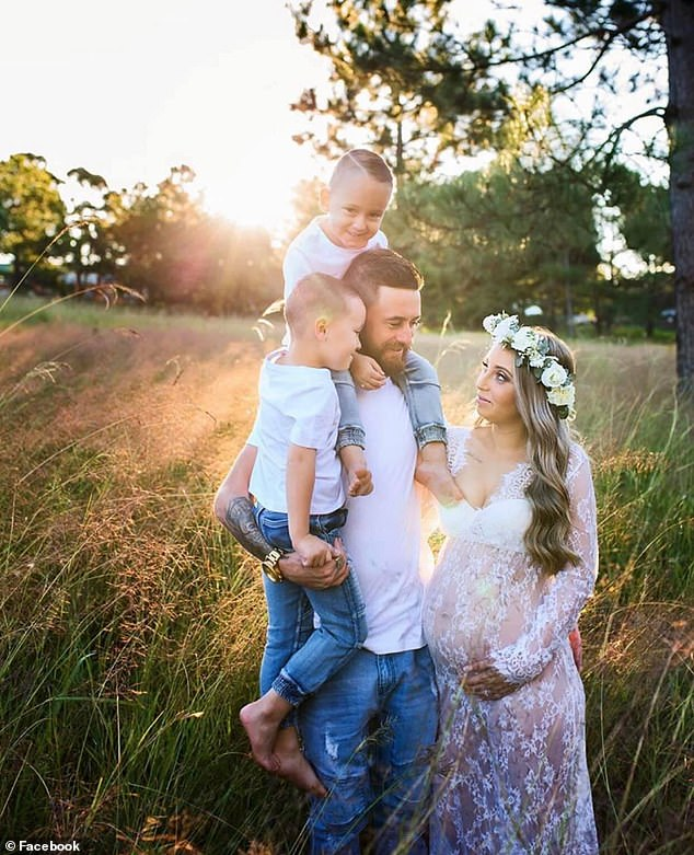 Ms Wever's friend is asking for donations to help support the family during this 'difficult time' (pictured with fiancé Dylan Whitey and two of their sons)