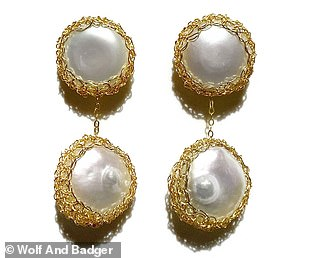 Angie 14K Gold-Filled Freshwater Baroque Pearl Drop Earrings by Carolina Wang, $178; wolfandbadger.com