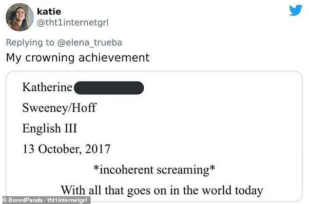 A student at Atlanta's Savannah College of Art and Design said titling her essay 'incoherent screaming' was her 'crowning achievement'