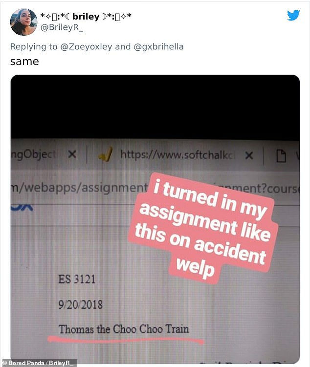 One student from Texas submitted her final essay as 'Thomas the Choo Choo Train' and did not catch it before it was too late